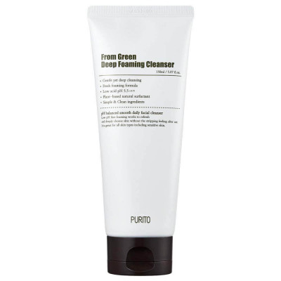 Слабокислотная пенка с центеллой и зеленым чаем Purito From Green Deep Foaming Cleanser 150мл: фото