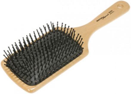 Щетка для волос массажная деревянная прямоугольная HERCULES (13 рядов): фото