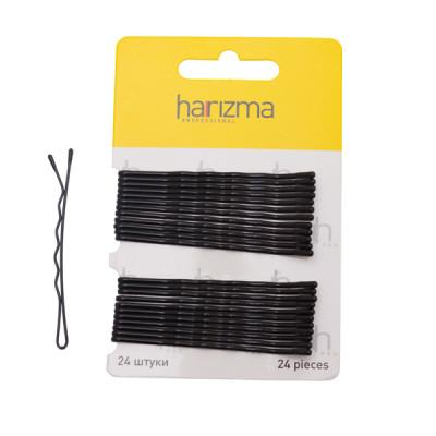 Невидимки волна Harizma Professional 70мм 24шт черные: фото