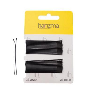 Невидимки прямые Harizma Professional 60мм 24шт черные: фото